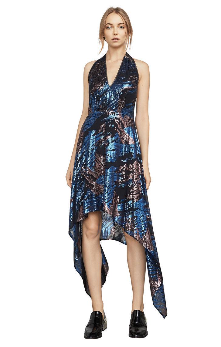 New Woherren BCBG Maegan Metallic Jacquard Halter Asymmetric Dress SZ M Silk