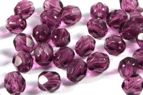 6 mm Dark Amethyst; * 2040 vidrio esmerilado perlas 40 x Kaden cuentas de vidrio