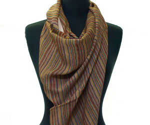 Light-Cotton-Scarf-Brown-Burgundy-amp-Off-White-Stripes-India-Wrap-or-Stole