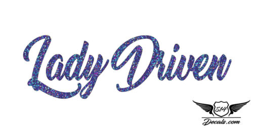 """Lady Driven 7/"""" Sticker Exclusive Blue Glitter Oil Slick Holographic Decal Vinyl"""