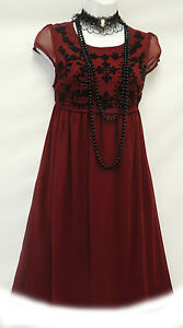 New-Wine-Red-Vtg-1920s-Deco-Downton-Abbey-Beaded-Flapper-Charleston-Dress