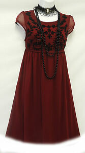 New-Wine-Red-Vtg-1920-039-s-Deco-Downton-Abbey-Beaded-Flapper-Charleston-Dress
