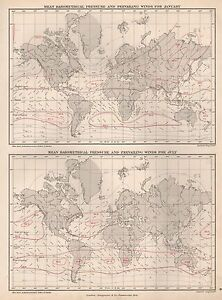 1889 ANTIQUE MAP WORLD MEAN BAROMETRICAL PRESSURE AND PREVAILING ...
