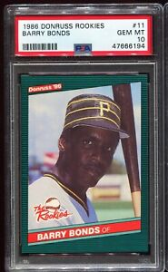 1986 Donruss Rookies 11 BARRY BONDS Pittsburgh Pirates RC ROOKIE PSA 10 GEM MINT