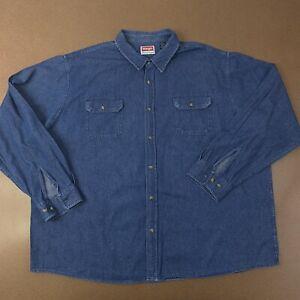 Wrangler-Mens-3XL-Blue-Long-Sleeve-Denim-Button-Front-Western-Shirt