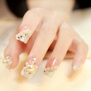 24pcs Pre Design French Nail Wedding Style False Nail Tips Large ...