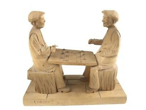 Collectible-LIONEL-DUBE-Quebec-Woodcarving-Canada-Men-Playing-Checkers-Figure
