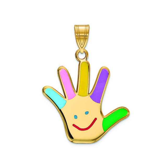 14K Two Tone Gold Two Face Happy and Sad Charm Pendant with 2mm Figaro 3+1 Chain Necklace
