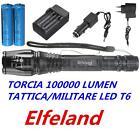 Elfeland 1064 TORCIA 100000 LUMEN ZOOM TATTICA MILITARE LED T6 RICARICABILE KIT