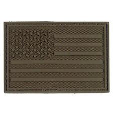 PVC Morale Patch AMERICAN FLAG Dark Earth Brown Tan 3D Badge Hook #38 Paintball