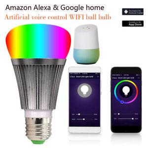 LED-Lampe-E27-Smart-Dimmbare-WIFI-APP-Fernbedienung-RGB-Home-iOS