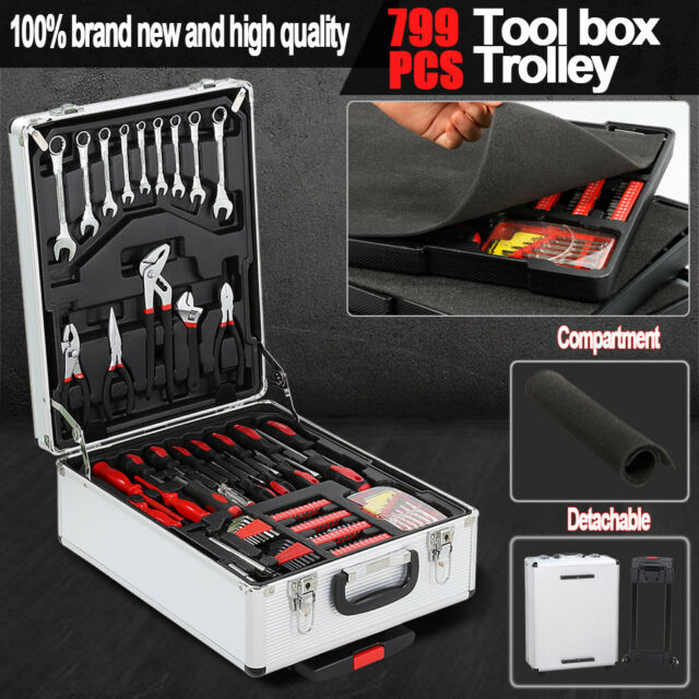 Rolling 799pcs Metric Tool Kit Trolley Case Portable DIY Set Home Workshop