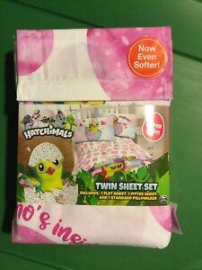 Hatchimals-Twin-Sheet-Set-Pink-Super-Soft-1-Flat-1-Fitted-1-Pillowcase-NIP