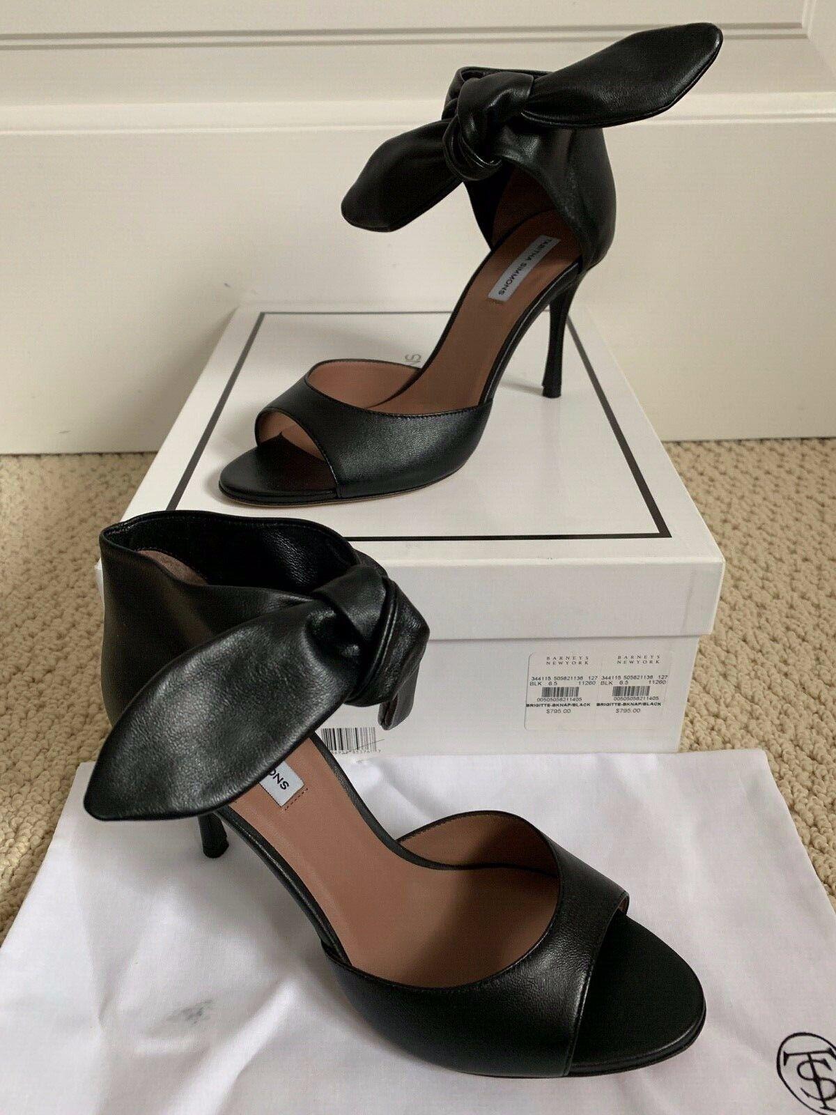 NIB Tabitha Simmons Brigitte Black Leather Ankle Tie Sandals Heels 36.5 6.5  795