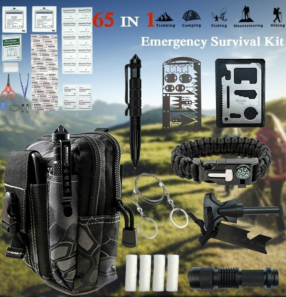 65 IN 1 Camping Survival Gear Kit Military Tactical Emergenc