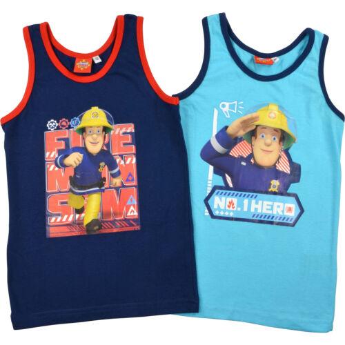 """2er Pack blau//hellblau Feuerwehrmann Sam Jungen Unterhemden /""""Hero/"""" Gr 98//104"""