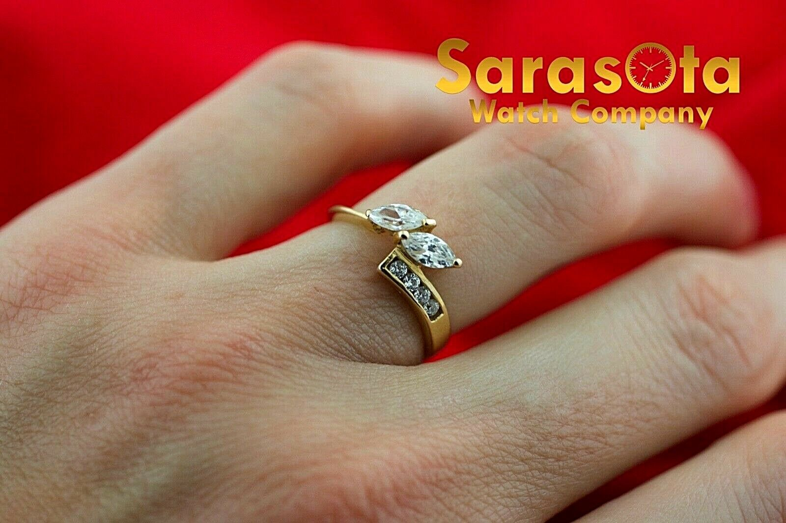 14k Yellow gold Cubic Zirconia Round Marquis Shape Women's Ring Size 5