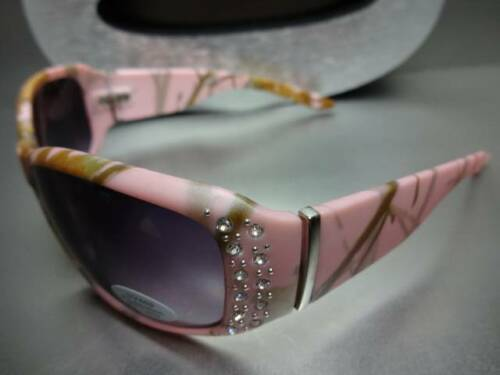 HUNTING FISHING BIKER RIDING Bling Pink Camouflage Camo POLARIZED SUN GLASSES