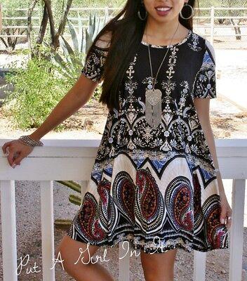 PLUS SIZE BLACK WHITE MEDALLION BOHO BABYDOLL POCKETS MINI DRESS XL 1X 2X 3X USA