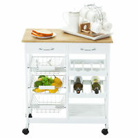 Oak Kitchen Island Cart Trolley Portable 2 Drawers Rolling Storage Dining Table