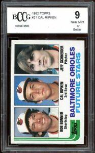 1982 Topps #21 Cal Ripken Jr Rookie Card BGS BCCG 9 Near Mint+