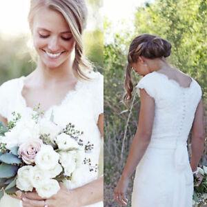 Neu Weiss Brautkleider Vintage Spitze Hochzeitskleider Abendkleider
