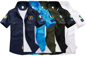 Mens-100-Cotton-Military-Sport-Embroidery-Slim-Fit-Air-Pilots-MA1-Casual-Shirts