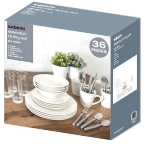 Sabichi 36 Pièce Salle à manger Starter Set-Porcelaine-Blanc  </span>