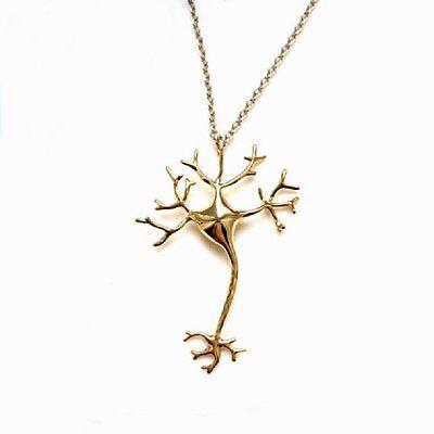 NEURON Anhänger Halskette Kette gold -farbig Nervenzelle Nerv Gehirn Zelle NEU