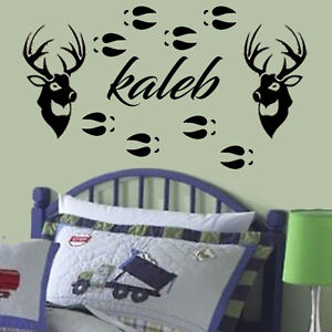 Custom Name Decal Deer Hunting Personalized Vinyl Wall Sticker - Custom vinyl wall decals deer