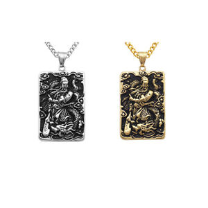 Mens-Stainless-Steel-Guan-Yu-Engraved-Hero-Pendant-Dog-Tag-Charms-Necklace