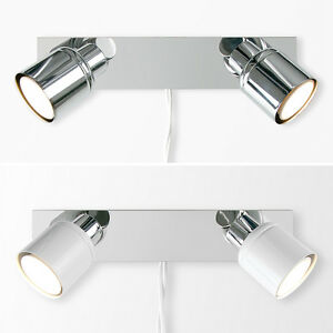 Plug in easy fit led twin 2 way wall spot lights spotlights image is loading plug in easy fit led twin 2 way mozeypictures Choice Image