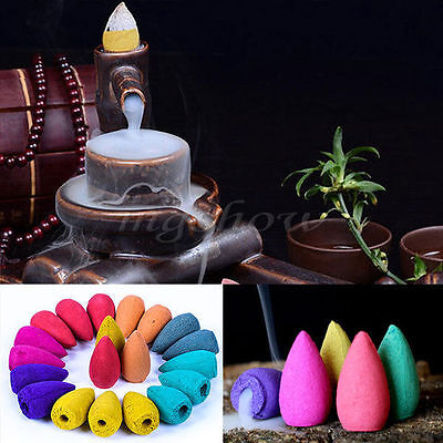 50pcs Natural Bullet Buddhism Backflow Incense Jasmine Smoke Hollow Cones Tower