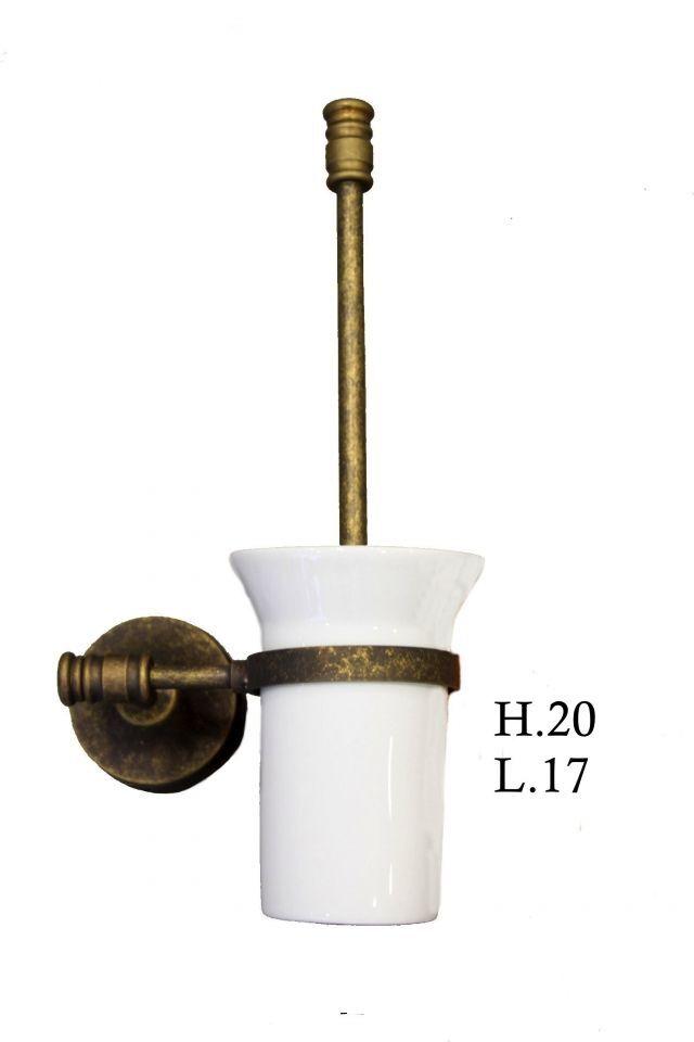 PORTA SPAZZOLONE WC SCOVOLINO DA BAGNO in ottone brunito STILE MODERNO da parete