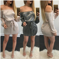 'Women Sexy Off shoulder Long Sleeve Lace-up Cocktail Party Clubwear Mini Dress
