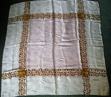 Authentic CHANEL 100% Silk Scarf 33 1/2 Inch Square Pink & White w/Gold Chains