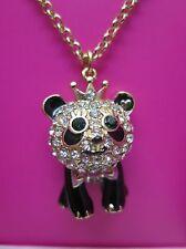 Betsey Johnson Gifting Panda Pendant Necklace Enamel Gold Gift Box NIB