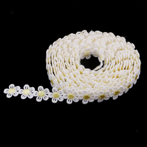 3 Yds Sun Flower Lace Edge Trim Ribbon Edging Trimmings Embroidered Applique