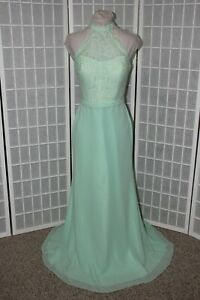 NEW Mint chiffon and lace size 10 long formal bridesmaid dress with train