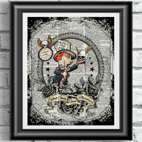 ART PRINT ON ORIGINAL ANTIQUE BOOK PAGE Alice in Wonderland Tattoo Dictionary
