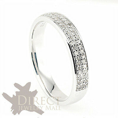 4mm 9ct REAL WHITE GOLD 0.25ct GENUINE DIAMOND Half Eternity Wedding Band Ring