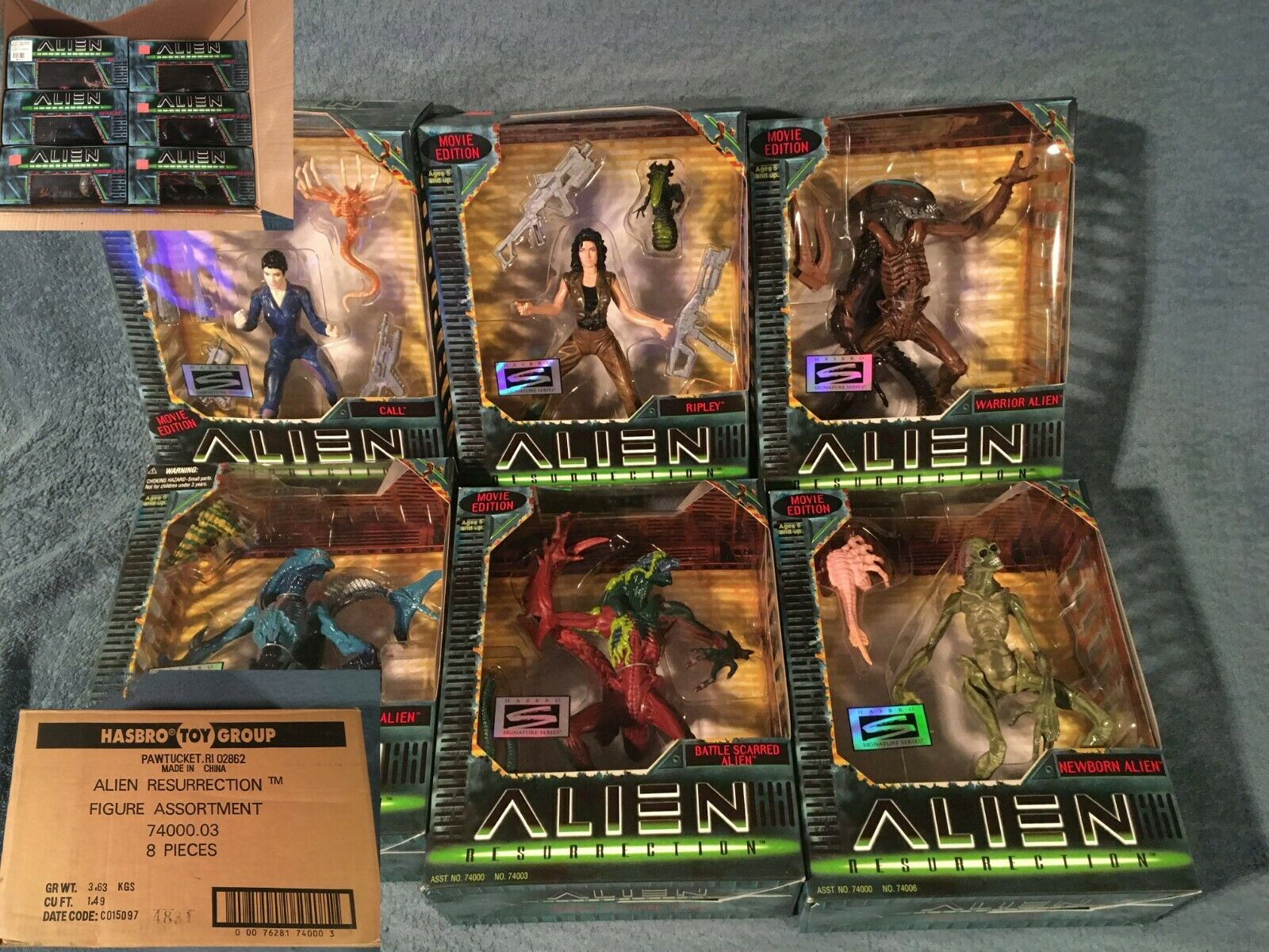 Alien Resurrection Action Figures Complete Set Of 6 - Hasbro Box - Bonus Poster