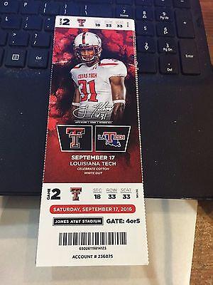 2016 Texas Tech Vs La Tech College Football Ticket Stub 9 17