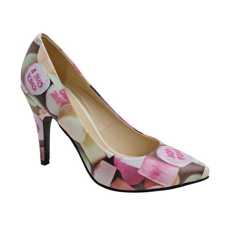 T.U.K A9047L Candy Hearts Print Pointed Diana Heel
