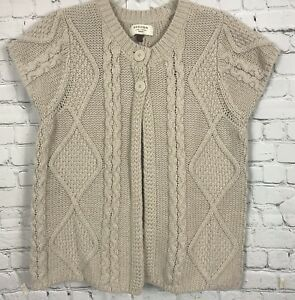 Sonoma-Womens-Open-Front-Beige-Cardigan-Sweater-Sz-2X-Cable-Knit-Cap-Sleeve