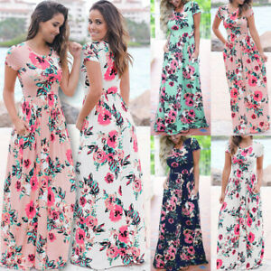 Womens-Stretchy-Ladies-Beach-Floral-Boho-Party-Holiday-Pleated-Maxi-Long-Dress