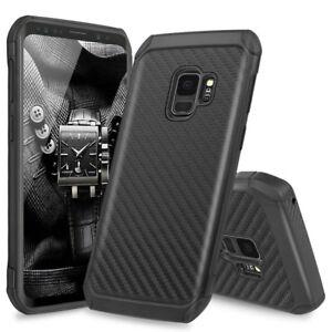 huge discount d51b4 c3462 Details about For Samsung Galaxy S9 / Plus Hybrid Black Carbon Fiber TPU  Armor Hard Phone Case