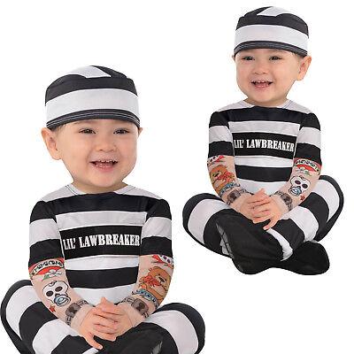 Baby Boys Girls Law Breaker Prisoner Carnival Halloween Black White Fancy Dress Costume Outfit 6-12 Months 6 Months