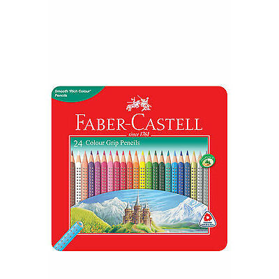 NEW Faber Castell Grip Colour Pencils 24 Pack Tin Assorted