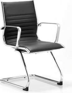 Ritz Visitor Cantilever Chair Black Bonded Leather With Arms
